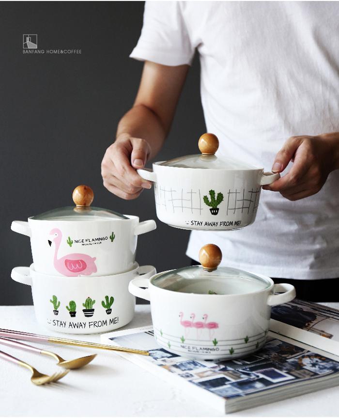 双耳陶瓷泡面碗