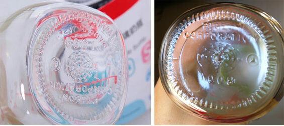 贝亲玻璃奶瓶正品和仿品的瓶底