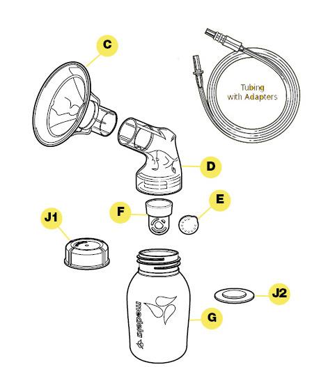 美德乐吸奶器分解图