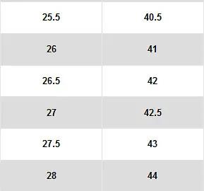Nike 的官方尺码表